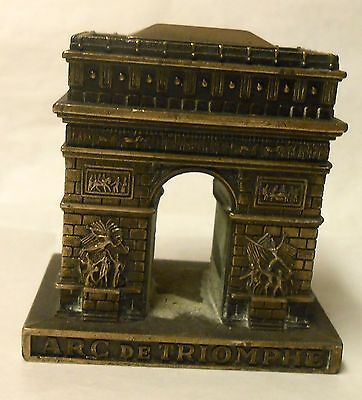 Vintage Miniature Cast Iron Metal Souvenir Arc De Triomphe Paris France