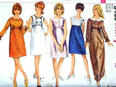 FAB VTG 60s EMPIRE WAIST EVENING GOWN & CUTE DRESS Misses Sewing Pattern 6433 16