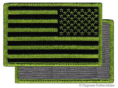 VELCRO AMERICAN FLAG MOTORCYCLE VEST BIKER PATCH GREEN LEFT embroidered US USA