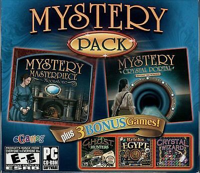 MYSTERY MASTERPIECE MOONSTONE +CRYSTAL PORTAL 2 Hidden Object 5 PACK PC Game NEW