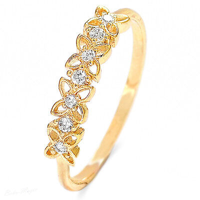 Flower 14k Gold Plated Ring Swarovski High Quality Size 6 7 8 Band Floral New