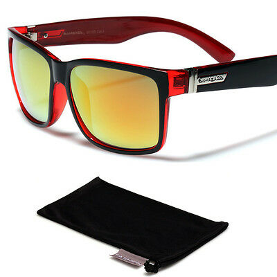 Square Color Mirror Mens Womens Wayfarer Style Retro 80's Sunglasses Black-Red