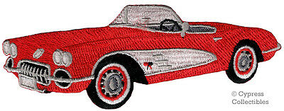AMERICAN CONVERTIBLE CAR BIKER PATCH iron-on embroidered RED CLASSIC AUTOMOBILE