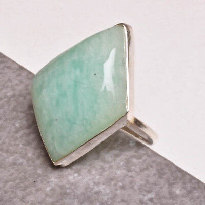 FANCY NATURAL AMAZONITE GEMSTONE 100% SOLID 925 STERLING SILVER RING SZ 8.5