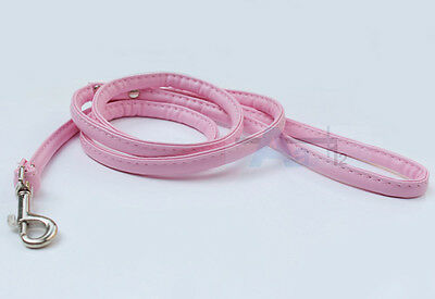 "48"" Length Pet Collar Leash Faux Leather Leash Lead Rope For Small Dog Puppy Cat"