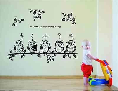 Owl Birds Branch Removable Vinyl Kids Baby Home Decor Mural Wall Stickers Decal