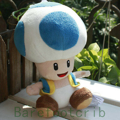 "NEW ARRIVAL Nintendo SUPER MARIO BROS.Friends 6"" BLUE~ TOAD Stuffed Doll"