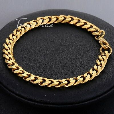 7mm Boys Mens Chain Gold Tone Curb Link Stainless Steel Bracelet 8inch HOT GIFT