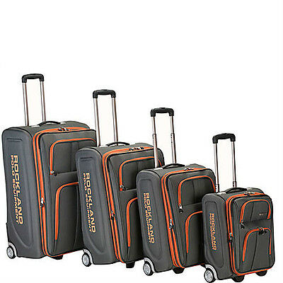 Rockland Luggage Polo Equipment 4 Piece Luggage Set-Charcoal