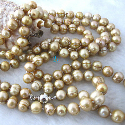 """50"""" 7-9mm Champagne Freshwater Pearl Necklace Strands Off Round"""