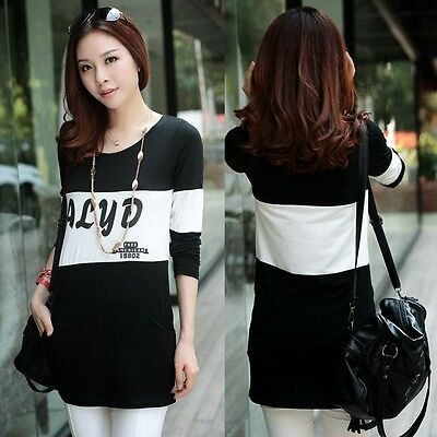 Letter Print Color Blocking Pullover Long Sleeve Women Stretch T-shirt Top Tee M