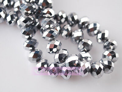 200pcs Glass Crystal Findings Faceted Rondelle Loose  Beads 3mm Silver Plated