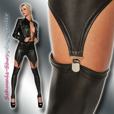Sexy Wetlook Leggings 34-38 Lack Leder Optik Clips Schwarz Leggins Gothic Straps