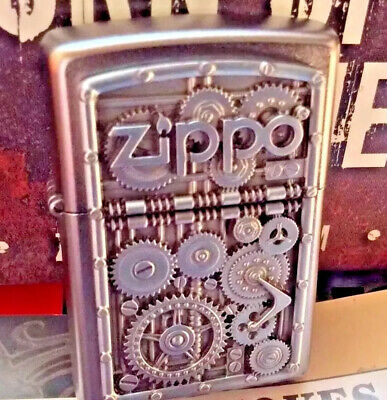 Zippo Collectable ( Gear Wheels ) Heavy Emblem Chrome Lighter In Box-Brand New