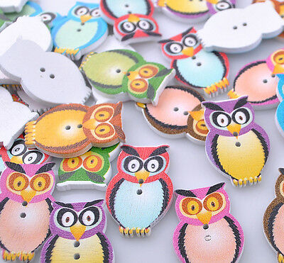 40pcs Mix Color Wood Owl Accessories Button Craft Sewing 20x32mm NK135