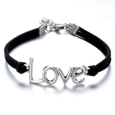 New Friendship Jewelry Leather Bracelet Charms LOVE Eternal Love Black Bangle