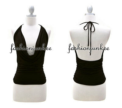 EE1 BLACK HALTER TIE Tank Top Draped Cowl Neck Jersey Open Back Sexy Low Cut S