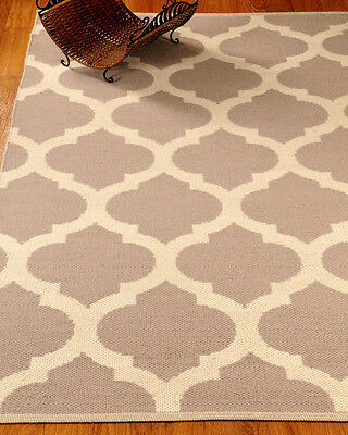 NEW Handcrafted Wellbourne Natural Dhurrie Wool Reversible Home Area Rug (4'x6')