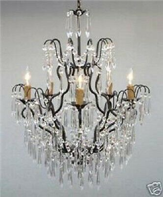 5 LIGHT CRYSTAL & WROUGHT IRON OR METAL CHANDELIER WITH U-DROP CRYSTALS