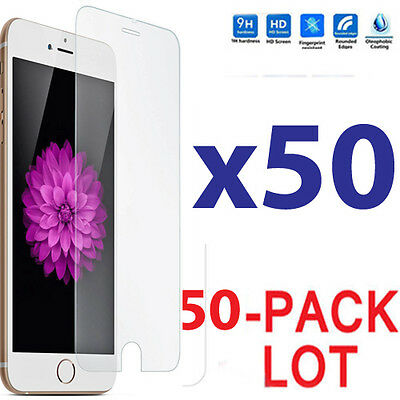 50x Wholesale Lot Tempered Glass Screen Protector for Apple iPhone 6