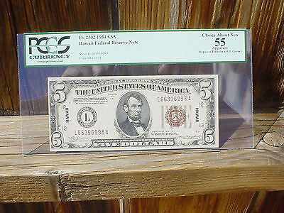 1934A $5 Hawaii Note Brown Seal PCGS AU 55