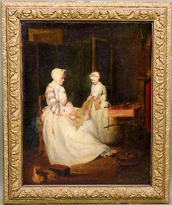 Antique Victorian French Genre Oil Painting Mother & Daughter Embroidery Pug Dog