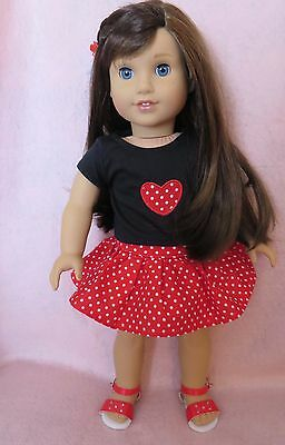 Doll Clothes Red Black Boots S Skirt Set fits 18 Inch Doll American Seller lsful