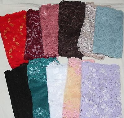 Lot 11 yards Black White Brown Rose Teal Yellow Blue Gray Lavender STRETCH lace