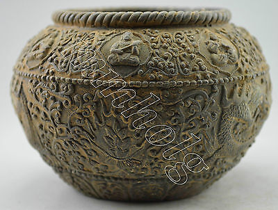 Collectible Decorated Old Handwork Bronze Carved Dragon Exorcism Pot