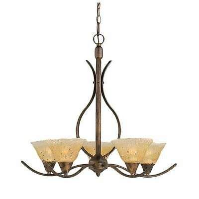 Cambridge 5-Light Bronze 23.25 in. Chandelier with Amber Crystal Glass