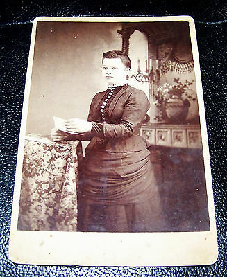 """Old Vtg Antique Photograph 6.5"""" x 4.25"""" Victorian Edwardian Lady Mounted on Card"""