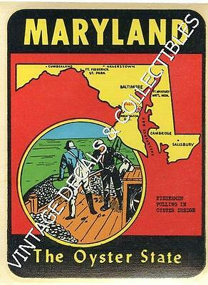 Vintage Maryland Oyster State Souvenir Map Travel Water Window Decal Luggage Art