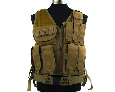 Military Molle Tactical Law Enforcement SWAT Police Combat Vest w/ Holster Tan