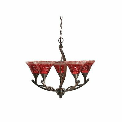 Cambridge 5-Light Black Copper 23.5 in. Chandelier with Raspberry Crystal Glass