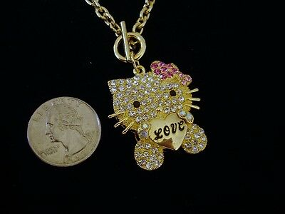 Hello Kitty Yellow Gold Crystal Pendant/Clear Crystal w/Pink Bow/Valentines Day
