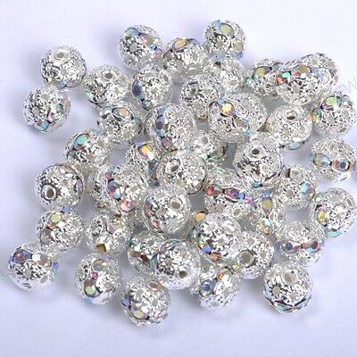 10pcs Clear AB Quality Czech Crystal SILVER PLATED Charms Spacer BEADS 8MM