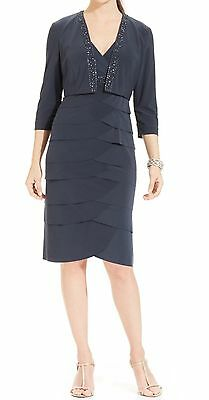 Alex Evenings NEW Blue Beaded Two Piece Women's 6P Petite Tiered Dress $199