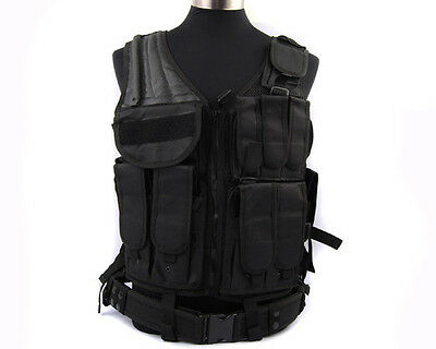 Airsoft Molle Tactical Military SWAT Police Combat Vest w/ Pistol Holster Black