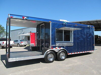 BBQ BEAUTIFUL BLUE 8.5 X 24 CONCESSION FOOD TRAILER  CATER TRUCK STAND TAQUERIA