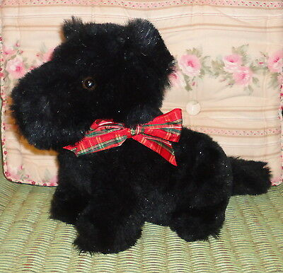 Vintage Russ Berrie DUFFY Black Plush Stuffed Scottish Terrier Scotty Puppy Dog