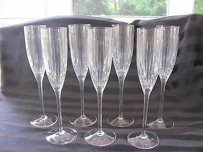 ROGASKA CRYSTAL CHAMPAGNE FLUTES - SET OF 7 - BEAUTIFULLY CUT