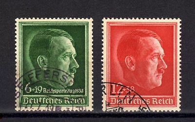 GERMANY EMPIRE-Third REICH.Yv.607+613.1938.Hitler SET.USED.DEUTSCHES REICH.WWII.