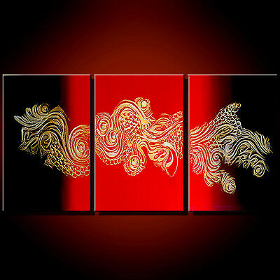 LOOOK!! TEXTURED 3D BLACK RED OIL PAINTING CANVAS ABSTRACT UNIQUE ART DECO GIFT-