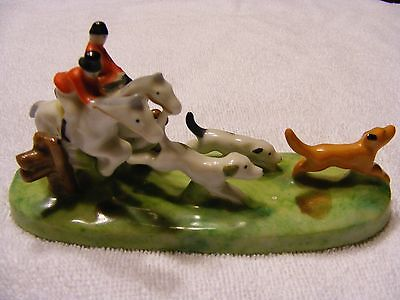 RARE VINTAGE GOLD CASTLE FIGURINE FOX HUNTERS ON HORSES WITH DOGS