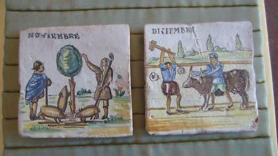 Two Old Spanish Delft Maiolica Tiles Peasants Calendar Theme French ? Portugal ?