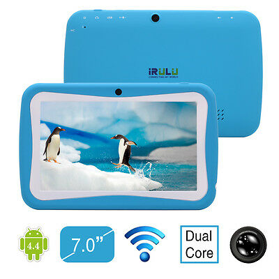 """IRULU 7"""" Android 4.2 Children 8GB Dual Core & Cam Blue Tablet PC for Kids"""