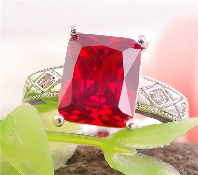 New arrival 925 sterling silver shiny pretty red gemstones lady's ring size 7
