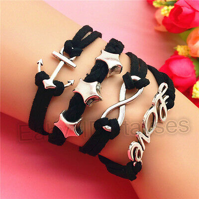 NEW Charm Fashion Stars Anchor LOVE Jewelry Leather Cute Bracelet Silver B187