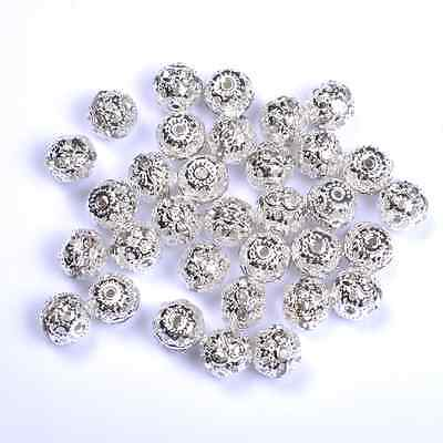 10pcs Clear Quality Czech Crystal SILVER PLATED Charms Spacer BEADS 6MM