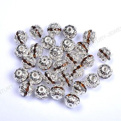 10pcs Coffee Quality Czech Crystal SILVER PLATED Charms Spacer BEADS 8MM